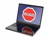 stock photo of malware  - Malware warning sign on laptop screen - JPG