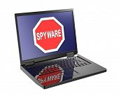 picture of spyware  - Spyware warning sign on laptop screen - JPG