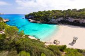 picture of sunny beach  - Majorca Cala Llombards Santanyi beach in Mallorca Balearic Island of Spain - JPG