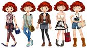 foto of casual wear  - Girl hipster wearing different costumes - JPG