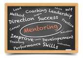 picture of mentoring  - detailed illustration of a Mentoring wordcloud on a blackboard - JPG