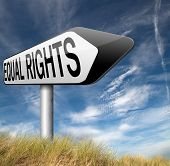 picture of all-inclusive  - equal rights no discrimination and same opportunities for all women man equality road sign - JPG