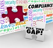 picture of gap  - Fill the Gap words on a puzzle piece ready to be placed in a hole in a wall with words Compliance - JPG