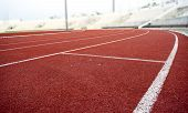foto of curves  - Athletics Stadium Running track curve red floor - JPG