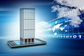picture of smart grid  - smart phone with real estate concept in attractive color background - JPG
