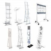 picture of racks  - Set of various stands for promotional materials - JPG