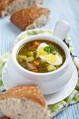foto of sorrel  - Sorrel soup with quail eggs and sour cream - JPG
