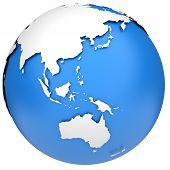 stock photo of indian blue  - Earth globe 3d model - JPG
