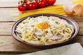 image of carbonara  - pasta carbonara on a plate with egg yolk and parmesan cheese - JPG