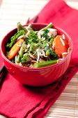 stock photo of stir fry  - chicken stir fry with organic vegetables over coconut rice - JPG