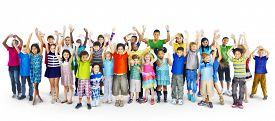 stock photo of diversity  - Ethnicity Diversity Group of Kids Friendship Cheerful Concept - JPG