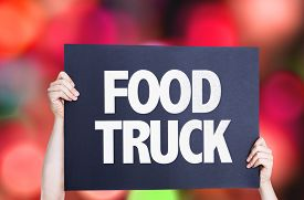 picture of food truck  - Food Truck card with bokeh background  - JPG