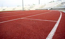 foto of track field  - Athletics Stadium Running track curve red floor - JPG