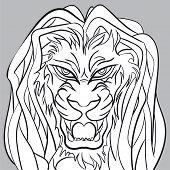 image of dreadlock  - Angry lion head with dreadlocks - JPG