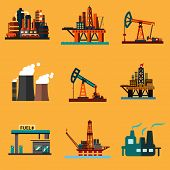 foto of offshore  - Petroleum industry icons in flat style with offshore oil platforms - JPG