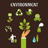 picture of polluted  - Conservation and environment flat concept with a human hand holding green tree surrounded by bio fuel - JPG