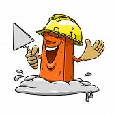 pic of mason  - Cartoon happy brick professional mason character with trowel in hand wearing yellow construction helmet and gloves - JPG