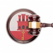 stock photo of gibraltar  - Wooden judge gavel with national flag on sound block series  - JPG