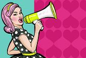 Pop art girl with megaphone. Woman with loudspeaker. Girl announcing discount or sale. poster