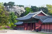 image of seoul south korea  - Korean style houses in Changdeokgung Palace in Seoul Korea. Photo taken with wide angle lens ** Note: Soft Focus at 100%, best at smaller sizes - JPG