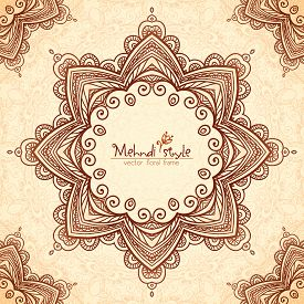 stock photo of mehndi  - Vector decorative star frame in Indian mehndi style - JPG