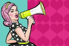 pic of 1950s style  - Pop art girl with megaphone - JPG