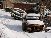 picture of vinnitsa  - Two old cars in Ukrainian nostalgia retro beaute - JPG
