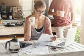 People, Family And Finances. Young Beautiful Wife Wearing Rectangular Glasses Doing Paperwork, Sitti poster