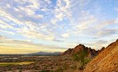 Photo of papago park, red rock formation in phoenix,scottsdale captured at sunset with beautiful sky, arizona.