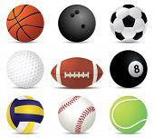 Постер, плакат: векторные иллюстрации спорта шариков