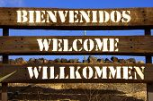 sign with the word welcome in different languages