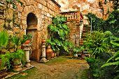 A view of arab baths in Palma de Mallorca, Spain
