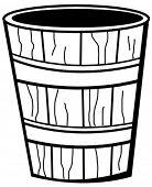 wooden bucket with wood grain