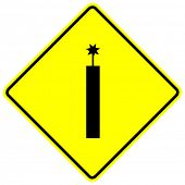 dynamite caution sign