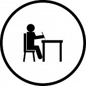 student writing in a desk symbol
