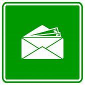 dinheiro em sinal de envelope