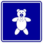 plush bear toy sign