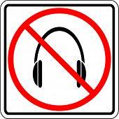 headphones prohibited sign