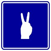 hand number two or making bunny ears shadow sign