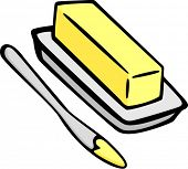 image of margarine  - butter or margarine and spreading knife - JPG