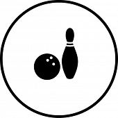 bowling ball and pin symbol