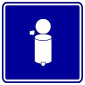 trash container with lid sign