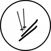 snow skiing skis and poles symbol