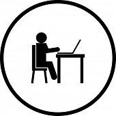 student using a laptop symbol