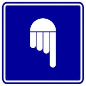 hand pointing down sign