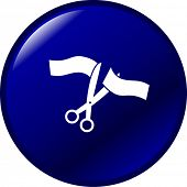 ceremonial scissors and ribbon button