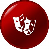 theater drama masks button