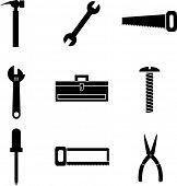 conjunto de ferramentas e símbolos mini de hardware