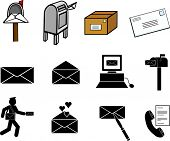 stock photo of telegram  - mail communications illustrations and symbols set - JPG