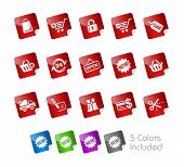 Shopping Icons // Stickers Series -------It includes 5 color versions for each icon in different lay